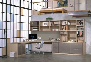 4 Tags Industrial Home Office With Built In Bookshelf, Concrete Floors,  High Ceiling, Loft