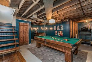 Pool Room Furniture Ideas simple basement pool room artistic color decor beautiful in basement pool room home improvement basement pool room decorations ideas Rustic Game Room With Exposed Beam Pendant Light Carpet Flush Light Concrete