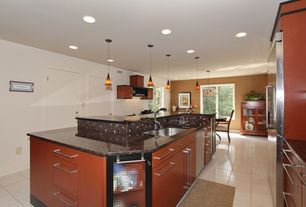 Contemporary Kitchen With Baltic Brown Granite Rapidjack Pendant City Lights Mosaic