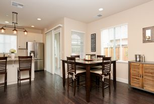 transitional dining room with high ceiling hardwood floors - Dining Room Design Ideas On A Budget