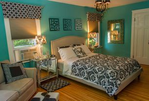 1 tag Contemporary Guest Bedroom with Pendant Light, Hardwood floors