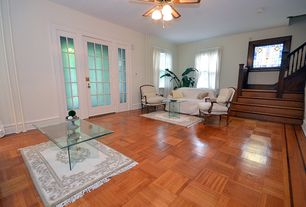 Craftsman Living Room With Ceiling Fan, Flush Light, Laminate Floors, High  Ceiling, Part 72