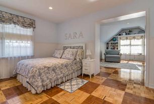 traditional kids bedroom with high ceiling carpet wainscoting laminate floors