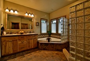 3 tags rustic master bathroom with built in bookshelf drop in sink flush light