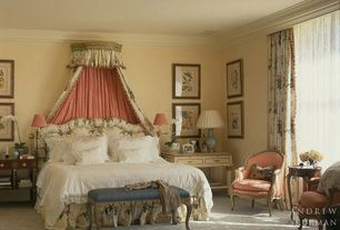 traditional master bedroom with crown molding carpet