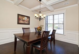 1 Tag Traditional Dining Room With Box Ceiling Wainscoting Hardwood Floors Crown Molding Chandelier