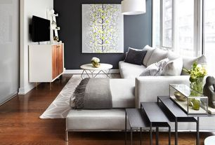 6 Tags Contemporary Living Room With Yellow And Gray Tree Art Print,  Contemporary Metal Nesting Tables  . Pablo Arguello; Interior Design