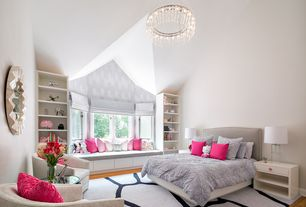 transitional kids bedroom with hardwood floors window seat jeanie glass cylinder lamp interior - Luxury Kid Bedrooms