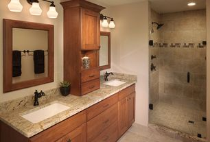 Contemporary   Bathroom With Landen Cabinets Raised Panel Crema Cappuccino X Polished