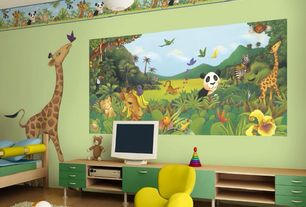 Contemporary Kids Bedroom With Mural, Laminate Floors, Pendant Light Part 48