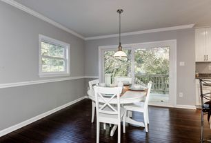 Traditional Dining Room With Chair Rail, Pendant Light, Hardwood Floors,  Vintner White Wood Part 13