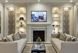Transitional Living Room With High Ceiling Hardwood Floors Cement Fireplace Crown Molding