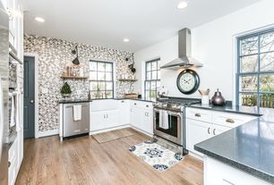 Cottage Kitchen With Simple Granite Counters, U Shaped, Farmhouse Sink, Wall  Sconce