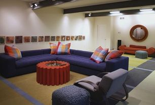 2 Tags Eclectic Basement With Flush Light, Exposed Beam, Carpet, Hopson  Sectional In Key Largo