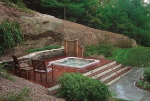 traditional hot tub with raised beds exterior tile floors