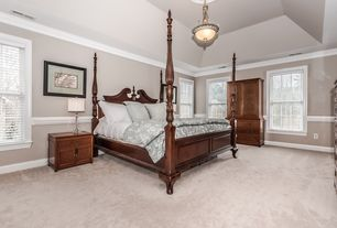 1 Tag Traditional Master Bedroom With Chair Rail, High Ceiling, Crown  Molding, Pendant Light,