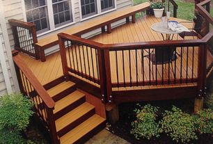 Nice Traditional Deck With Pathway, Fencetown Deck Railing, Exterior Stone Floors