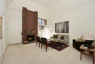 1 Tag Contemporary Living Room With High Ceiling Metal Fireplace Carpet