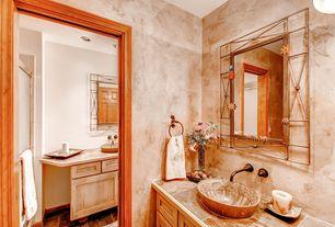 traditional master bathroom with dropin sink pendant light complex granite tile floors