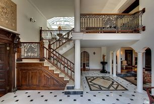 Traditional Staircase With Wall Sconce, High Ceiling, Crown Molding, Simple  Marble Floors,