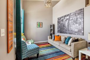 Contemporary Living Room with Mohawk Home New Wave Rainbow Blue Gray Area  Rug, Mainstays Parsons
