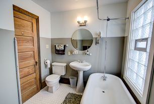 2 Tags Cottage Full Bathroom With Rain Shower Head Pedestal Sink Penny Tile Floors High
