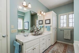 Traditional Master Bathroom with Naples 24 in. W Linen Cabinet in White