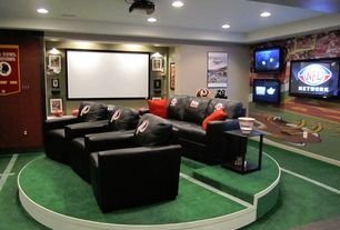 2 Tags Eclectic Home Theater With Carpet, Interior Wallpaper, High Ceiling