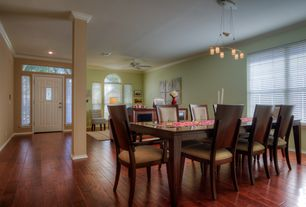 2 Tags Transitional Dining Room With Chandelier, Crown Molding, Columns,  Hardwood Floors, High Ceiling