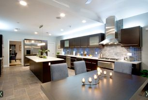 modern kitchen with carrara white 2x2 polished ms international oasis blue limestone tile bellmont - Modern Kitchen