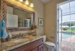 6 Tags Tropical 3/4 Bathroom With Bordeaux Dream Granite Countertop, Inset  Cabinets, Cabrera Mirror