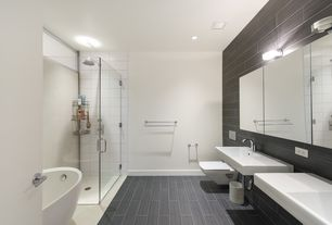 6 Tags Contemporary Full Bathroom With Freestanding Bathtub High Ceiling Frameless Shower Doors By Dulles Glass