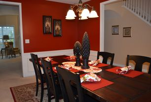2 Tags Traditional Dining Room With Chair Rail Chandelier Carpet Wainscoting