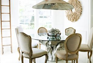 Eclectic Dining Room With Pendant Light Concrete Floors