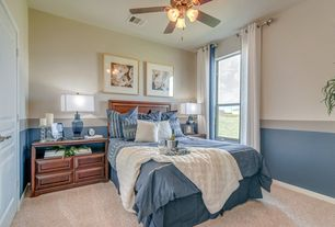 Transitional Guest Bedroom With Flush Light Carpet Ceiling Fan High