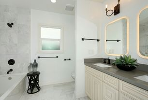 Contemporary Full Bathroom With Ash Gray Quartz, Double Sink, Undermount  Sink, Limestone Tile