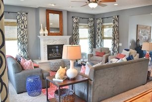 Fluff Interior Design, Omaha, NE. Grey, Navy And Salmon Living Room.  Decorating And Design For REAL Life!