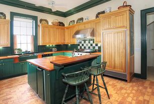 Country Kitchen With Crown Molding, European Cabinets, Craftsman Beaded  Panel Cabinet Door, Flush