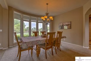 Traditional Dining Room With Chandelier Carpet High Ceiling