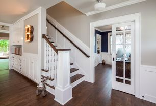 1 Tag Craftsman Staircase With High Ceiling, Wainscoting, Hardwood Floors