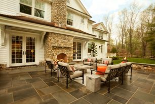 Contemporary Patio With Fence, Exterior Tile Floors