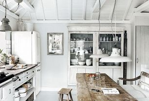 Rustic Kitchen With White Barn Pendant Dot Bo Saddle Bar Stool Wood Counters