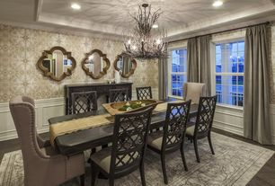 5 tags Transitional Dining Room with Carpet, High ceiling, Pendant Light,  Naturally Superior Twig Chandelier