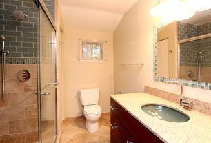 Craftsman Full Bathroom With Safari Quartz Lush X Dusk Blue Gray Glass Subway Tile