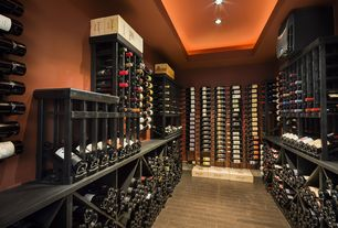 Modern Wine Cellar With Hardwood Floors, High Ceiling