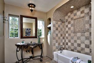 4 Tags Mediterranean Full Bathroom With Rain Shower Head, Flush Light,  Console Sink, Crowley Sofa. Frankmoreno1 · Home Design Ideas