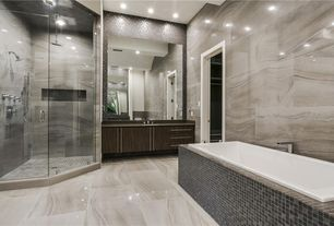 Modern Master Bathroom with Exposed beam Stone Tile in Dallas