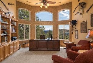 2 Tags Southwestern Home Office With Flush Light, Carpet, High Ceiling,  Ceiling Fan