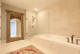 4 Tags Traditional Master Bathroom With Limestone Tile Floors Handheld Shower Head High Ceiling Drop