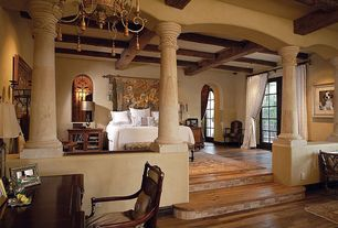Mediterranean Master Bedroom with High ceiling, Hardwood floors, Box  ceiling, Exposed beam,